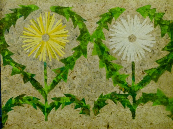 Dandelion in Neutral Paper Collage on Wood Panel